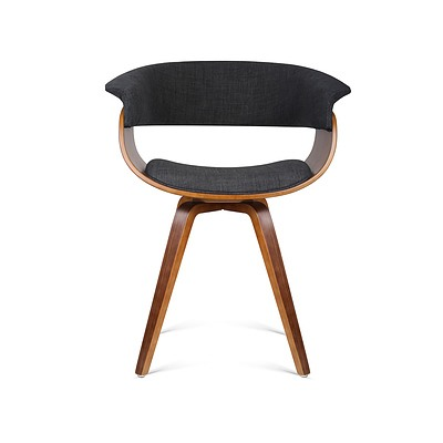 Timber Wood and Fabric Dining Chair - Charcoal - Free Shipping