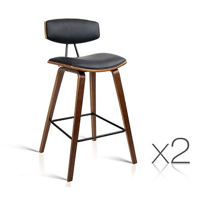 Set of 2 PU Leather Bar Stool with Metal Footrest Black - Free Shipping