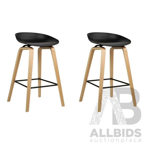 Set of 2 Wooden Backless Bar Stools - Black