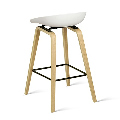Set of 2 Wooden Backless Bar Stool - White - Free Shipping