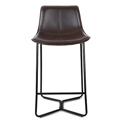 Set of 2 Bonded Leather Barstool - Black - Free Shipping