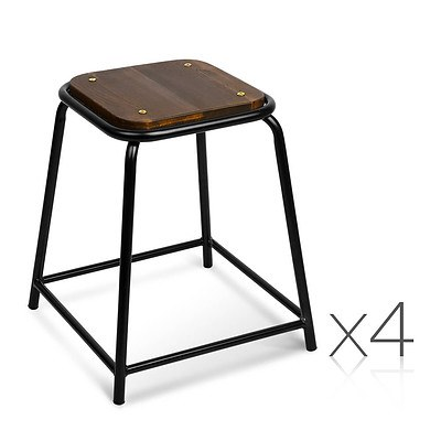 Set of 4 Industrial Pine Wood Bar Stool - Black - Free Shipping