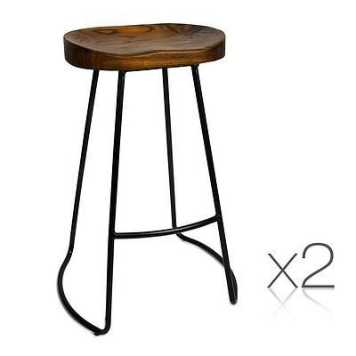 Set of 2 Steel Barstools with Wooden Seat - Brand New - Free Shipping