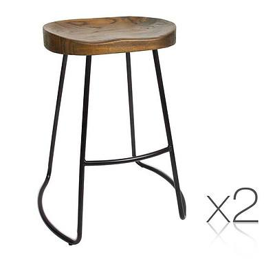 Set of 2 Steel Barstools with Wooden Seat 65cm - Brand New - Free Shipping