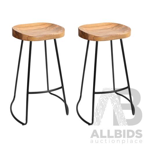 Artiss Set of 2 Wooden Backless Bar Stools - Natural