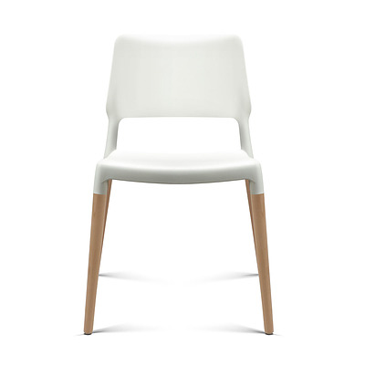 Set of 4 Wooden Stackable Dining Chairs - White - Free Shipping