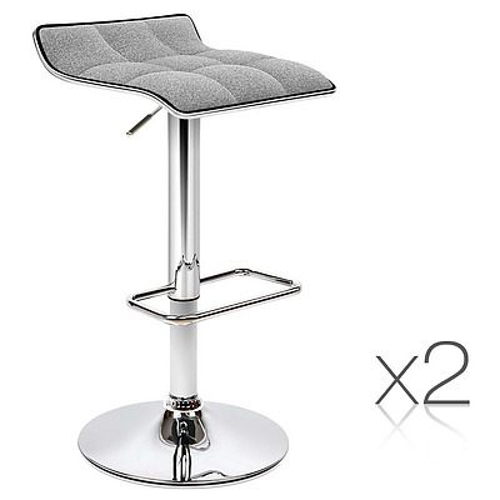 2x Fabric Bar Stools Swivel Bar Stool Dining Chairs Gas Lift Kitchen Grey - Brand New - Free Shipping