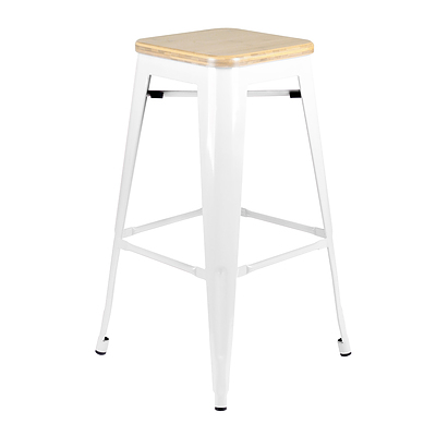 Artiss Set of 2 Bamboo Backless Bar Stools - White