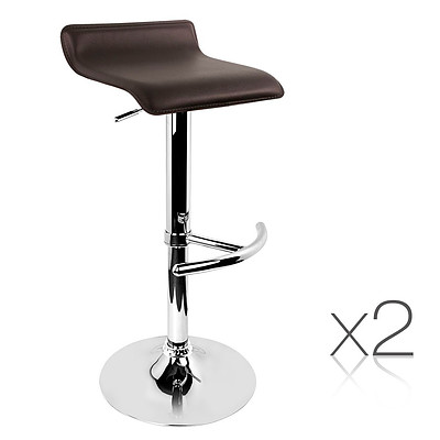 Set of 2 PVC Leather Kitchen Bar Stool Chocolate - Brand New - Free Shipping