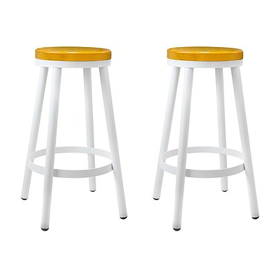 Set of 2 Round White Stackable Bar Stools - Brand New - Free Shipping