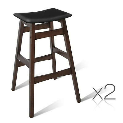 Set of 2 Wooden and Padded Bar Stool - Black