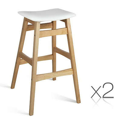 Set of 2 Wooden and Padded Bar Stool - White - Free Shipping
