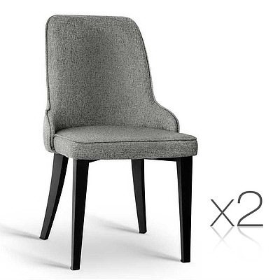 Set of 2 Fabric Dining Chairs Grey - Free Shipping