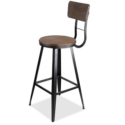 Industrial Bar Stool with Backrest 76cm - Free Shipping