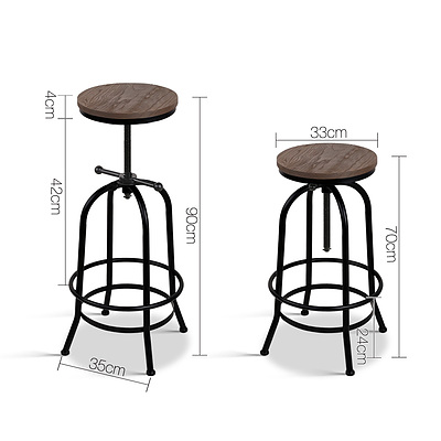 Rustic Industrial Round Bar Stool - Free Shipping