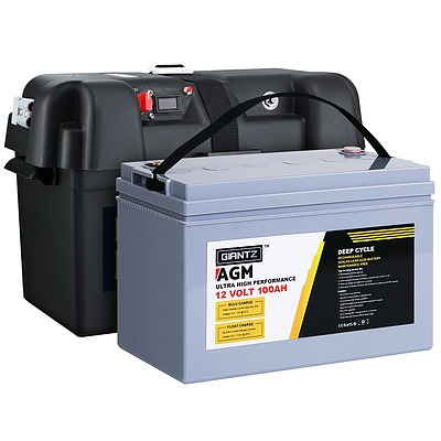 100Ah Deep Cycle Battery & Battery Box 12V AGM Marine Sealed Power Solar