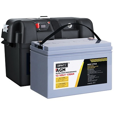 130Ah Deep Cycle Battery & Battery Box 12V AGM Marine Sealed Power Solar
