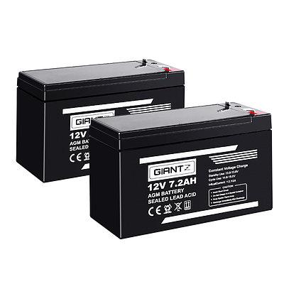 2X 12V 7.2Ah SLA Battery AGM Rechargeable Sealed Lead Acid Batteries