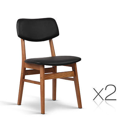 Set of 2 Wood & PVC Dining Chair - Black - Free Shipping