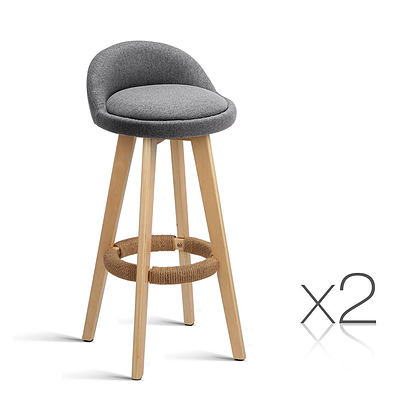 Set of 2 Fabric Bar Stool -Grey - Free Shipping