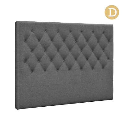 Double Size Upholstered Fabric Headboard - Dark Grey