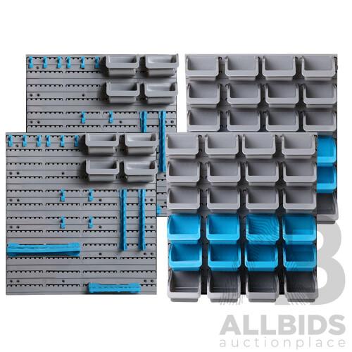 88 Parts Wall-Mounted Storage Bin Rack Tool Garage Shelving Organiser Box - Brand New - Free Shipping
