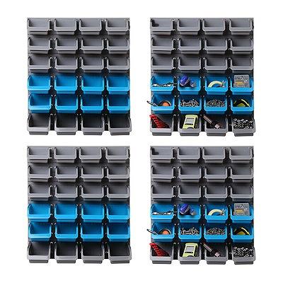 96 Storage Bin Rack Wall-Mounted Tool Parts Garage Shelving Organiser - Brand New - Free Shipping