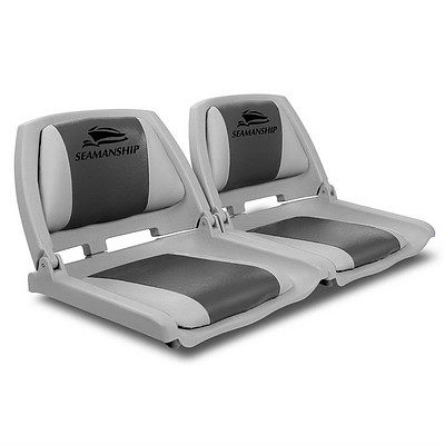 Set of 2 Folding Swivel Boat Seats - Grey & Charcoal - Brand New - Free Shipping