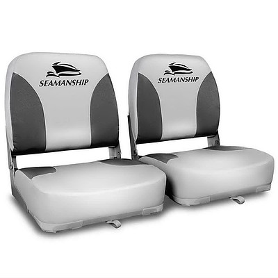Set of 2 Swivel Folding Marine Boat Seats Grey Black - Brand New