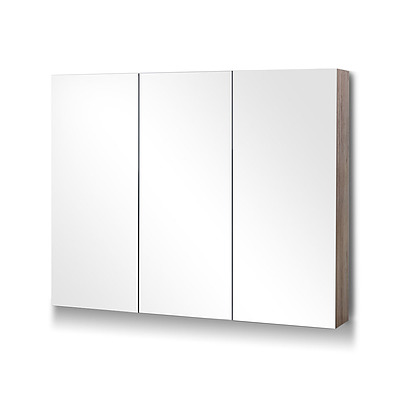 Bathroom Vanity 3 Door Storage Mirror Cabinet - Natural - Free Shipping