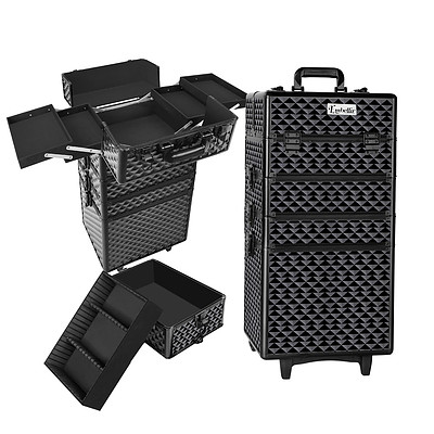 7 in 1 Portable Beauty Make up Cosmetic Trolley Case Diamond Black - Brand New - Free Shipping