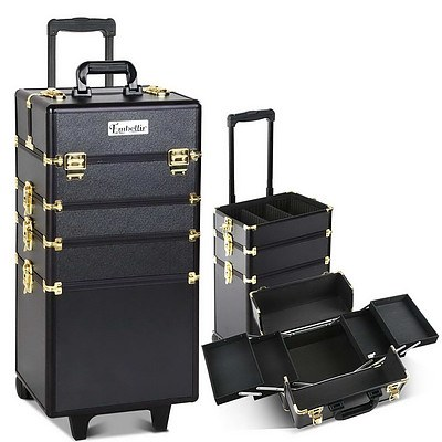 7 in 1 Portable Beauty Make up Cosmetic Trolley Case Black Gold - Brand New - Free Shipping