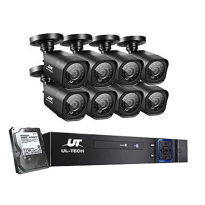 CCTV Camera Home Security System 8CH DVR 1080P 1TB Hard Drive Outdoor - Brand New - Free Shipping