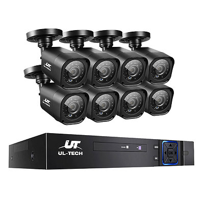 8CH 5 IN 1 DVR CCTV Security System Video Recorder /w 8 Cameras 1080P HDMI Black - Brand New - Free Shipping