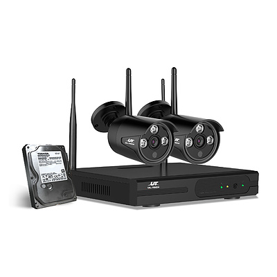 CCTV Wireless Security System 2TB 4CH NVR 1080P 2 Camera Sets - Brand New - Free Shipping