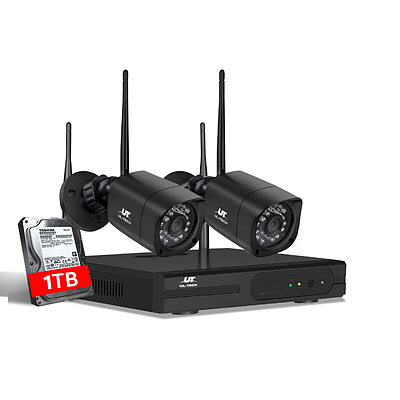 CCTV Wireless Security Camera System 4CH Home Outdoor WIFI 2 Square Cameras Kit 1TB - Brand New - Free Shipping