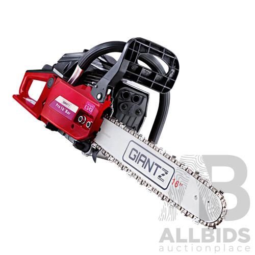 45CC Petrol Commercial Chainsaw Chain Saw Bar E-Start Black