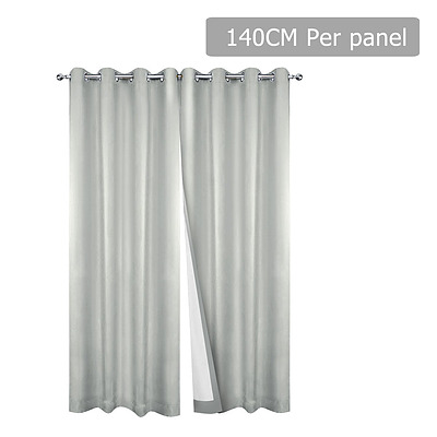 Set of 2 140 x 230cm Eyelet Blockout Curtains - Ecru - Free Shipping