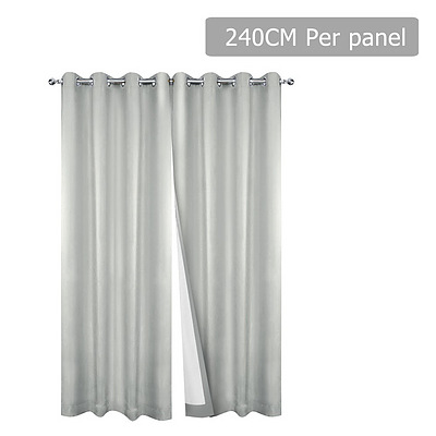 2 Panel 240 x 230cm Eyelet Blockout Curtains - Ecru