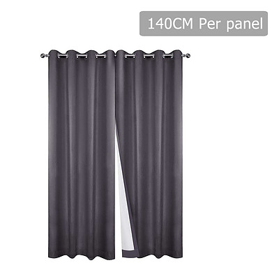 Set of 2 140 x 230cm Eyelet Blockout Curtains - Grey - Free Shipping
