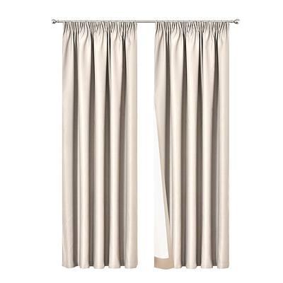 2 Pencil Pleat 180x213cm Blockout Curtains - Sand