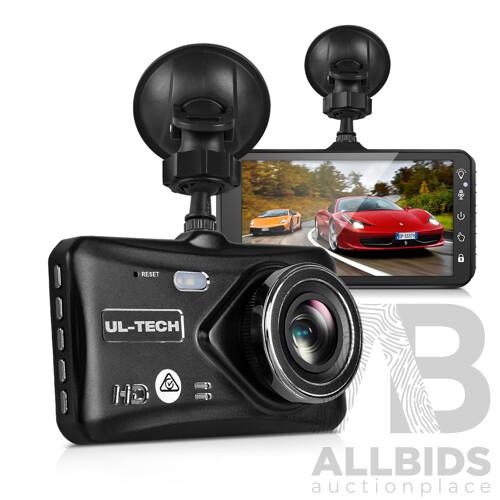UL Tech 4 Inch Dual Camera Dash Camera - Black - Free Shipping