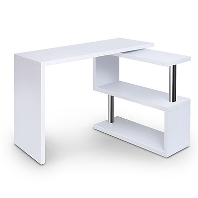Office Computer Desk Corner Table with Bookshelf White - Brand New - Free Shipping