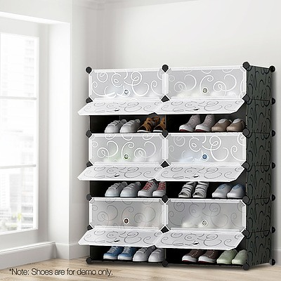 12 Cube Stackable Shoe Rack Storage Cabinet - Black & White - Brand New - Free Shipping