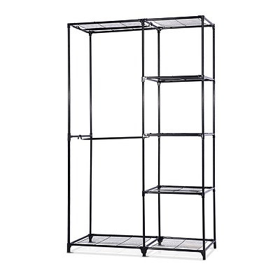 Portable Closet Organizer Storage Clothes Hanger Rail Garment Shelf Rack Black - Brand New - Free Shipping