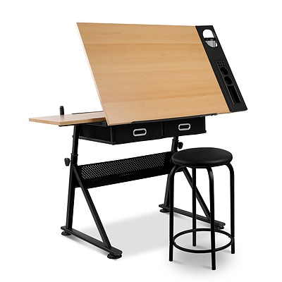 Tilt Drafting Table Stool Set - Natural & Black - Brand New - Free Shipping
