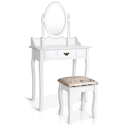 Single Drawer Dressing Table with Mirror White - RRP: $431.14 - Free Shipping