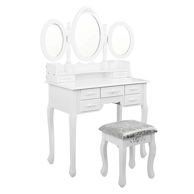7 Drawer Dressing Table w/ Mirror White - RRP: $693.04 - Free Shipping