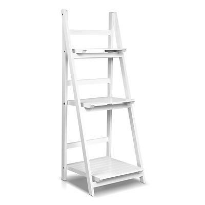 Wooden Ladder Storage Display Shelf - White - Free Shipping
