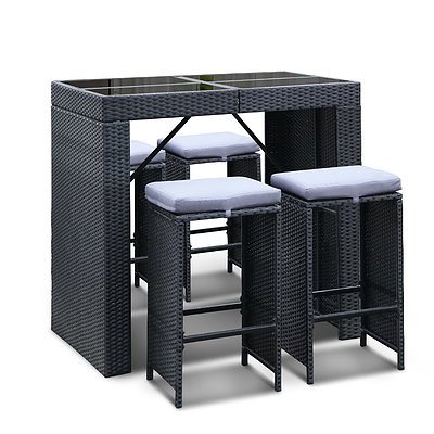 5 Piece Outdoor Furniture Bar Table and Stools Set 4 Chairs - Black - Free Shipping